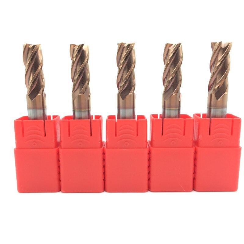 5 piezas HRC60 10mm Molino de carburo sólido ENDMILL D10X25XD10X75L 4 flauta longitud estándar fresado lateral ranurado perfilador cara molino