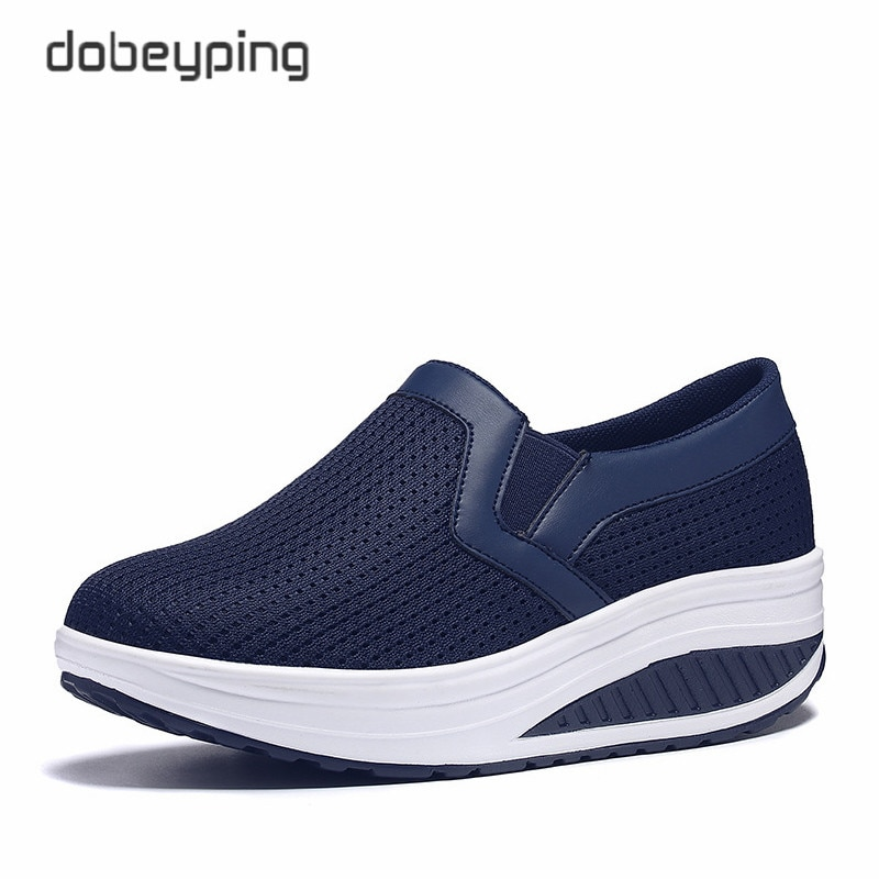 Frauen Schaukel Schuhe Air Mesh Frau Faulenzer Flache Plattformen Weibliche Schuh Casual Wedges Damen Schuhe Höhe Zunehmende Schuhe