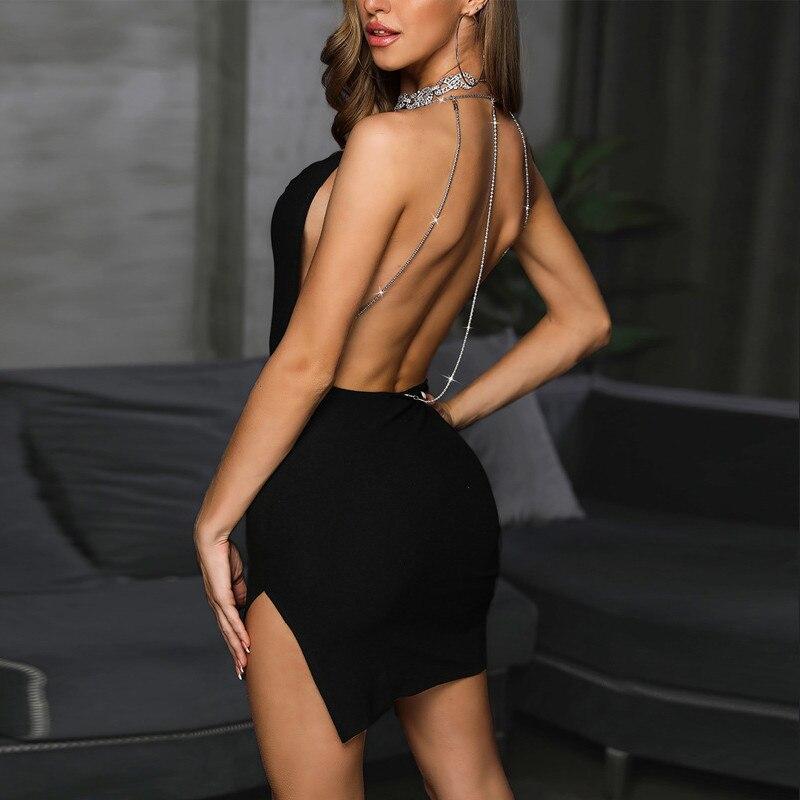 Sexy Black Mini Dress Womens Shiny Backless Glitter Bodycon Halter Dress Sleeveless High Slit Ladies Party Night Women Dress