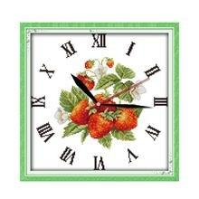 Joy Sunday Red Strawberries DIY Handmade Cross Stitch Kits 14ct 11ct Wall Clock Cross Stitch Flowers Needlework Embroidery Kits
