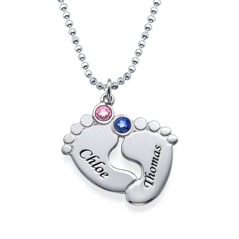 Personalizado nome de cristal colar pegada gargantilha colares presente para novo bebê gravado duplo nomes pingente privado colares