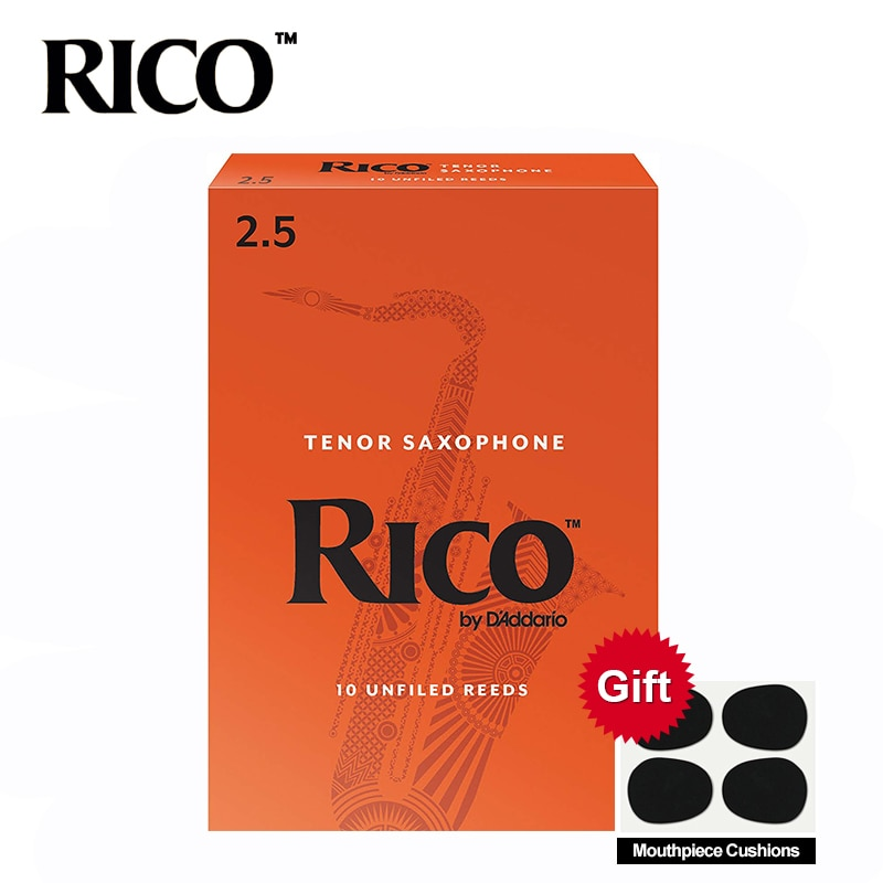 Anches de saxo RICO Derppde ténor Bb force 2.5 #, 3.0 # Orange boîte de 10