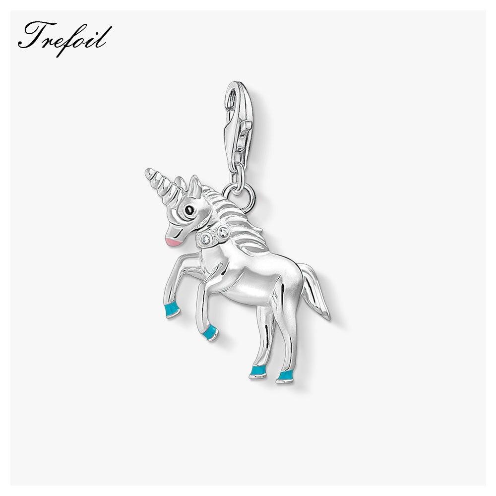 Colorido colgante, amuletos de caballo 2019 verano joyería de plata de ley 925 lindo regalo para las mujeres las niñas ajuste el collar pulsera