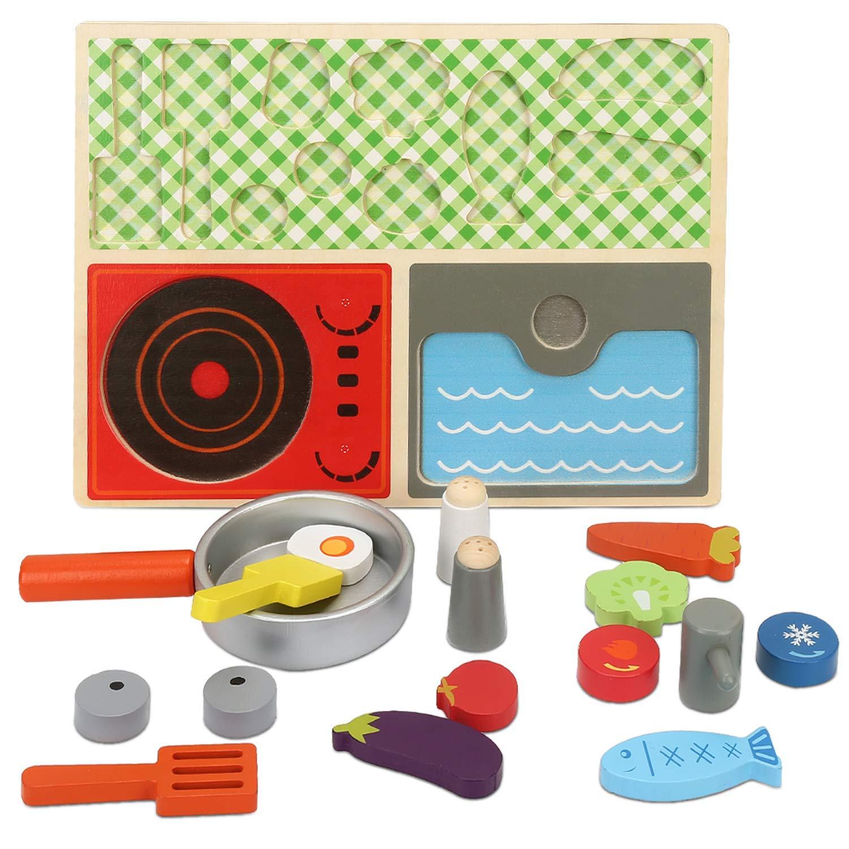 Имитация завтрака кухонный набор детские ролевые игры деревянная еда кухня приготовление пищи обучающая игрушка