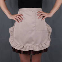 Tablier de couleur unie   Imperméable et à taille mi-courte, poches à frou-frous pour femmes, Chef café serveur