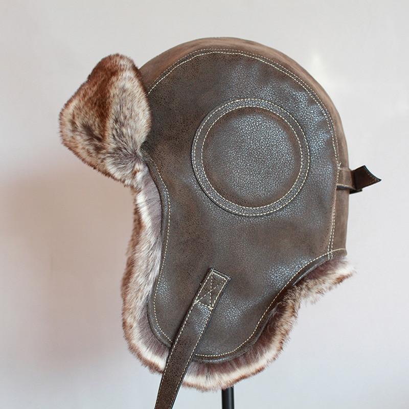Winter Ushanka Hat Men Women's Pilot Aviator Bomber Trapper Hat Faux Fur Leather Snow Cap with Ear F
