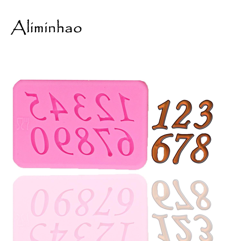 B1323 número 0-9 molde utensilios para decoración de tortas con fondant moldes de silicona para pasteles pastillaje Chocolate moldes de caramelo de arcilla