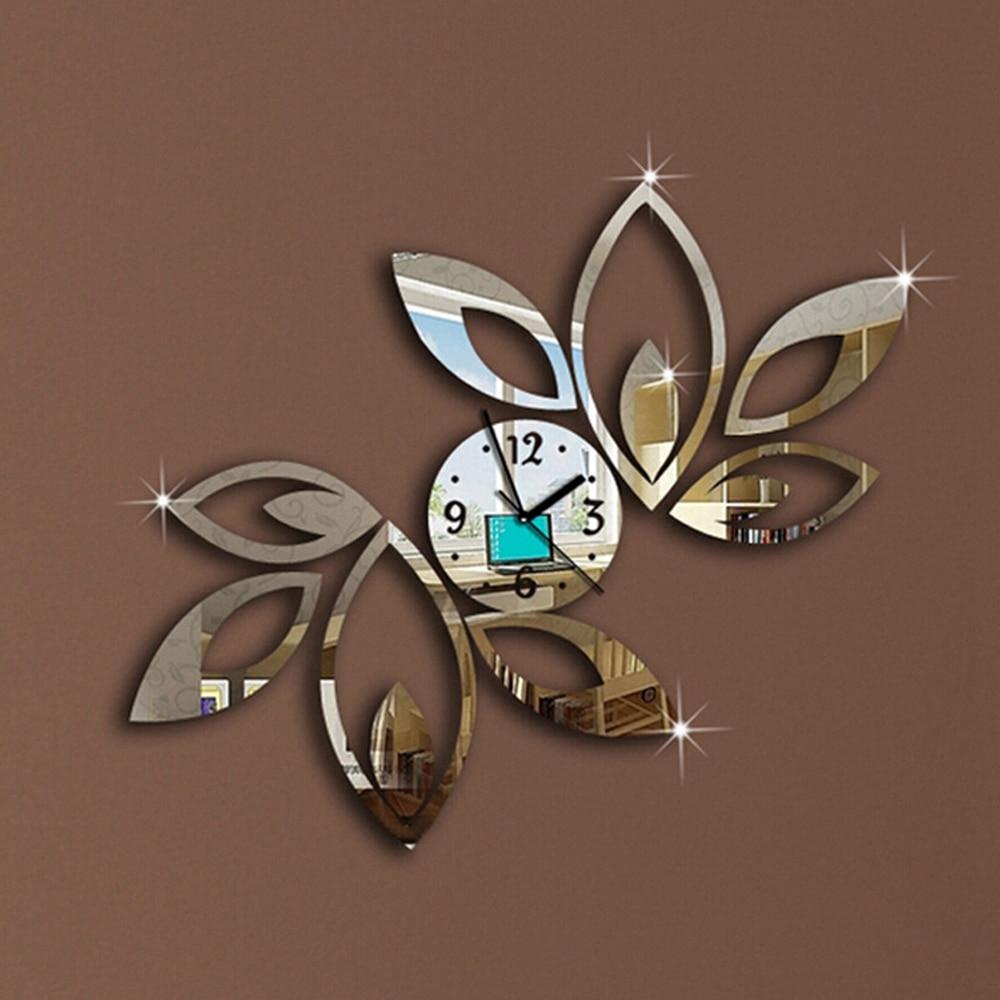 Horloge murale acrylique miroir amovible   Détails de la décoration intérieure, Art vinylique 3D, bricolage