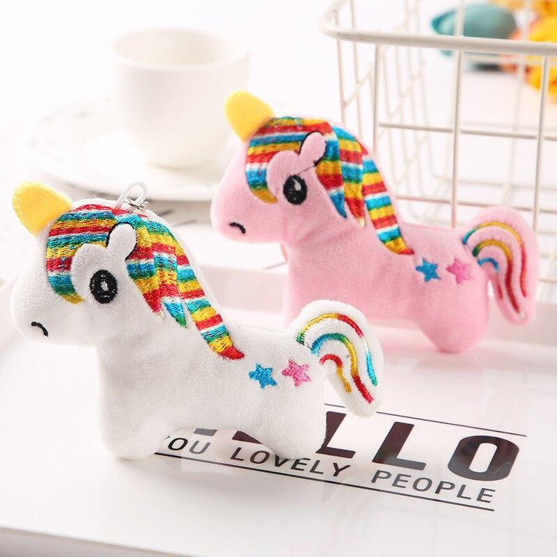 LLavero de unicornio de juguete de peluche suave de 10CM con forma de caballo de arco iris rosa, llavero colgante de felpa, juguete de cadena, regalo de Navidad para chica