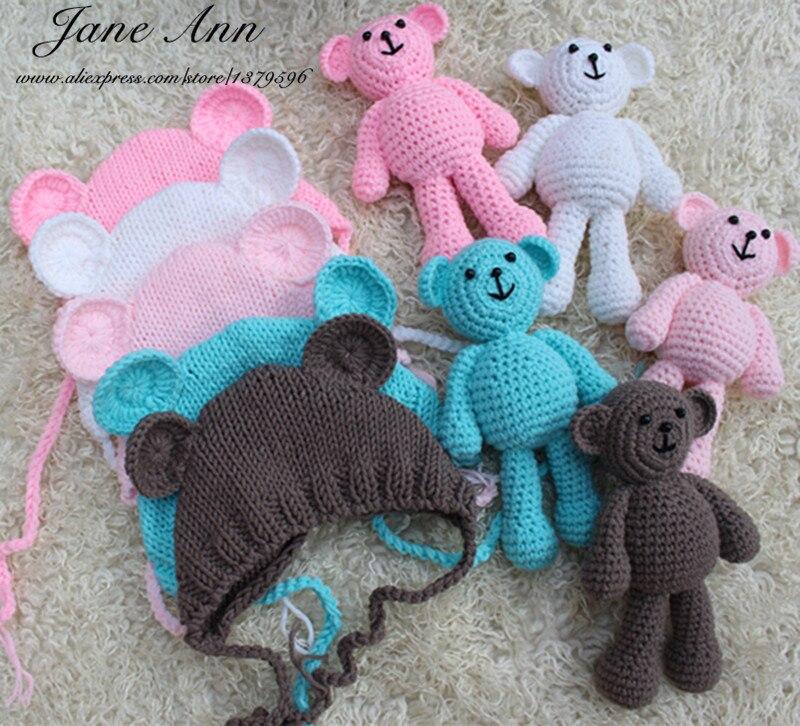 Jane Z Ann Baby photography fotografia accessories crochet bear +hat handmade newborn studio photo shoot props baby shower gift