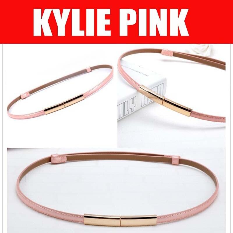 KYLIE PINK 2018 nuevos cinturones de cuero de moda para mujeres niñas cinturones de vestir de fiesta con hebilla metálica