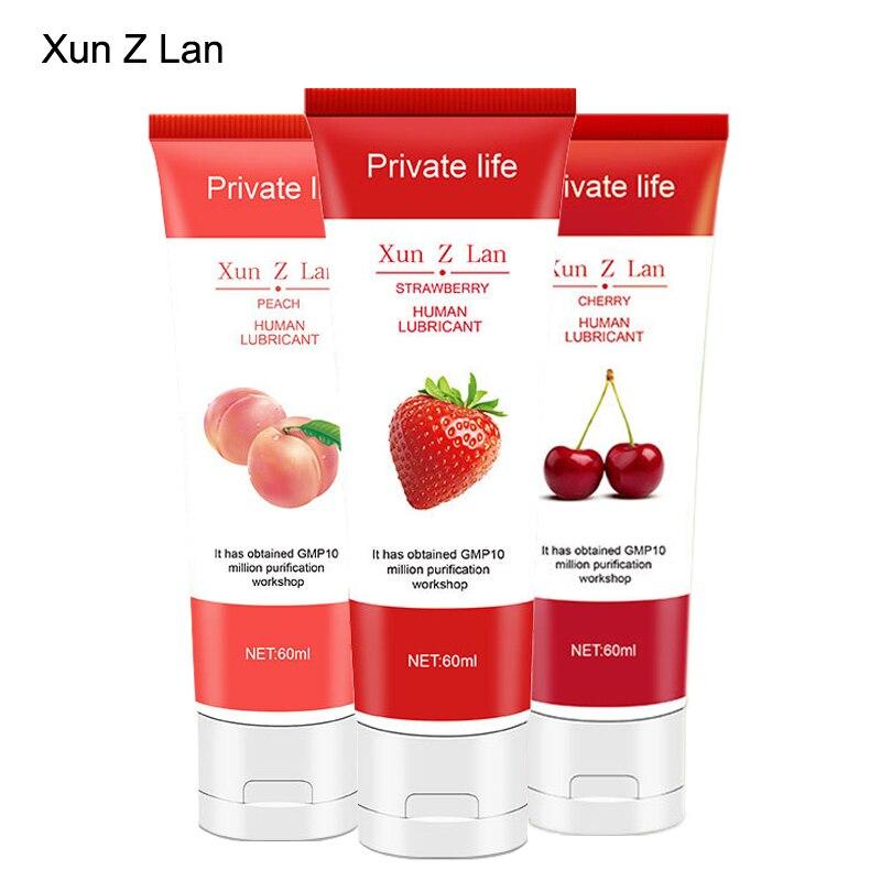Lubrificante de morango solúvel em água 60 ml, cereja, pêssego, sabor de frutas comestíveis lubrificantes ânus sexo oral lubrificante graxa vaginal