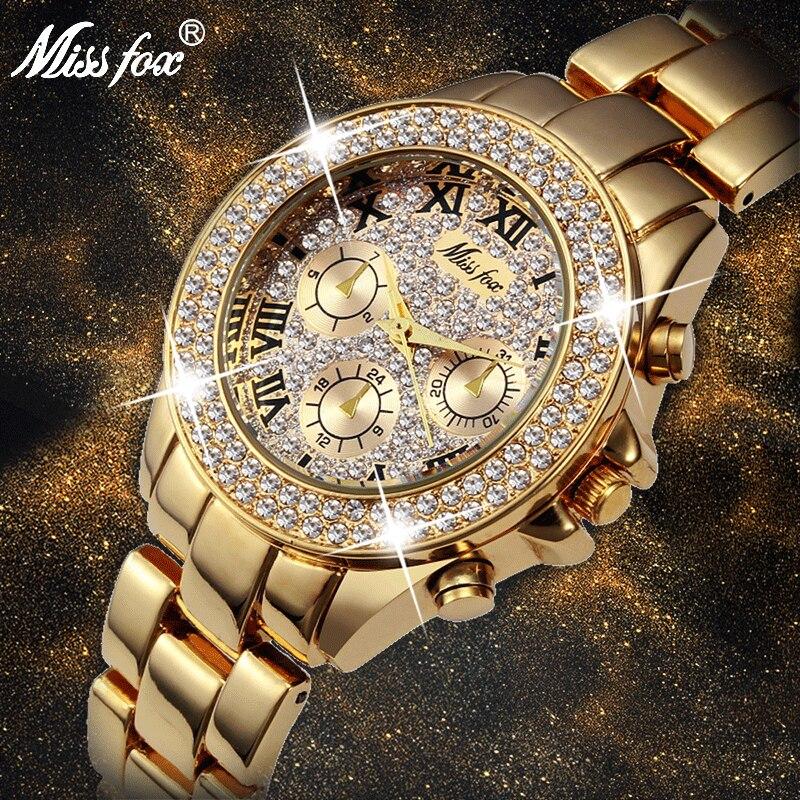MISSFOX, relojes para mujer, números romanos clásicos, zonas horarias falsas, reloj de cuarzo para mujer, reloj de moda informal dorado brillante para mujer