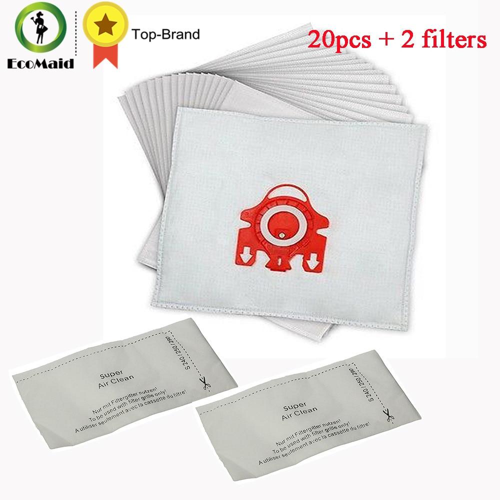 20 piezas bolsa de polvo + 2 uds filtro para bolsa de polvo Miele tipo FJM aspiradora bolsas de polvo de basura accesorio reemplazo de piezas de repuesto
