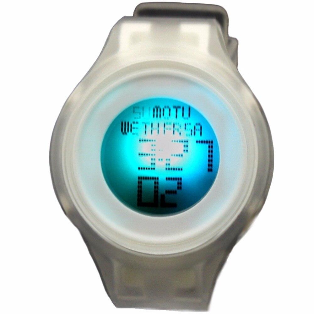 Digital relógios de pulso cronógrafo data alarme backlight silicone transparente branco banda unisex crianças relógio digital