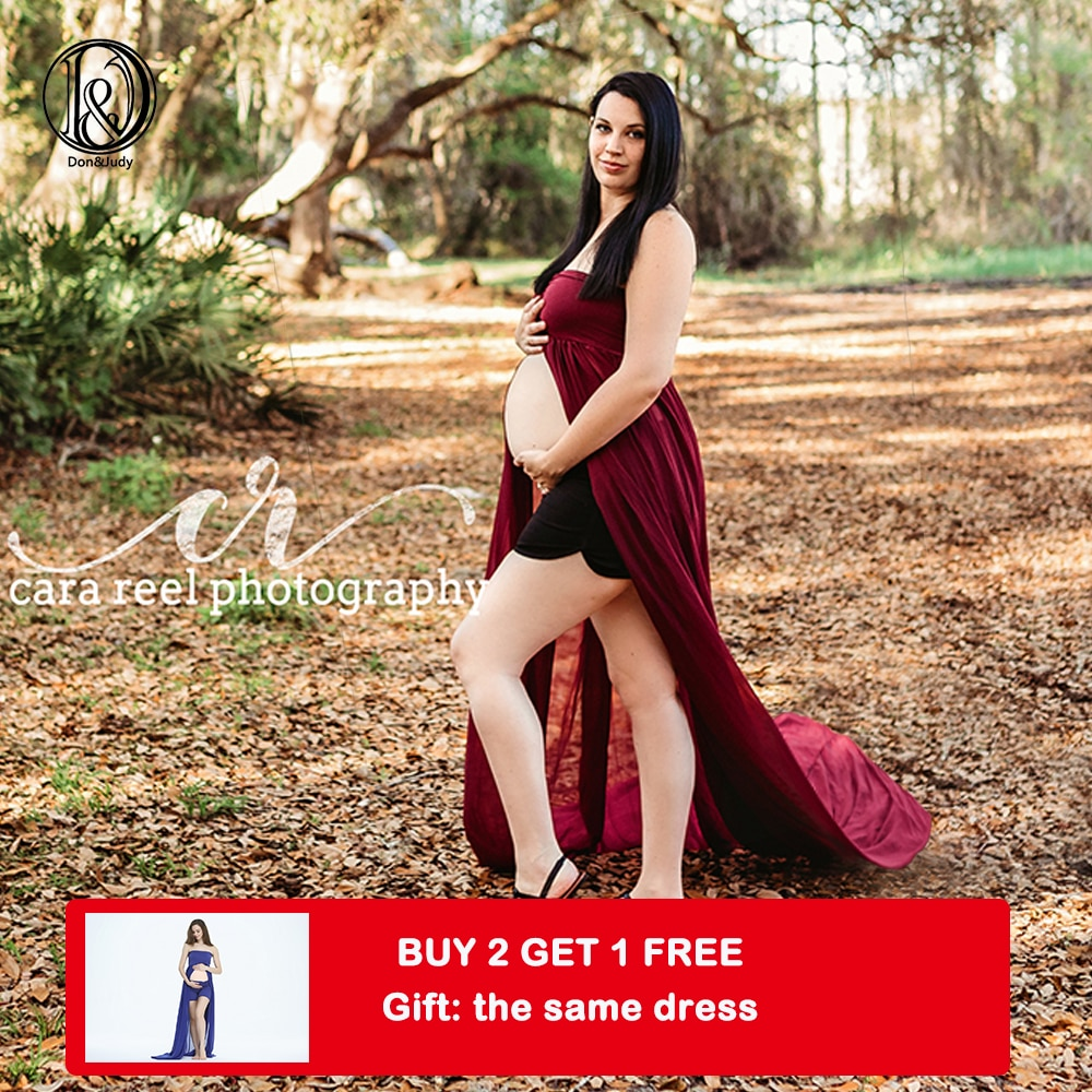Photography Prop Pregnancy Cotton Tube Dress with Chiffon Maternity Gown Women Costume for Photo Shooting Accessories enlarge
