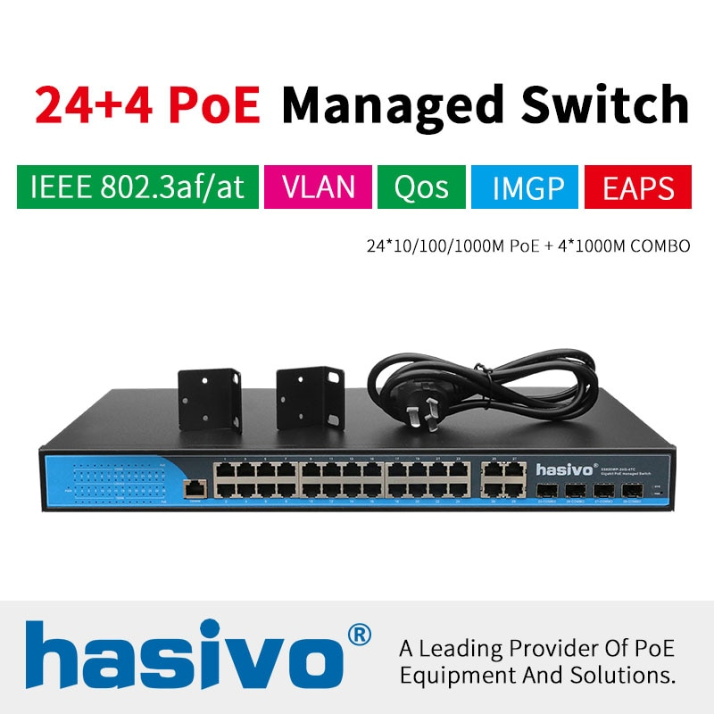 Фото - 24 port Managed Poe Ethernet Switch 400W managment switch with 24 port 10/100/1000M Rj45 PoE 4 Port SFP fiber COMBO 24 ports poe switch with 2 gigabit sfp port 400w poe switch 24 port full gigabit switch