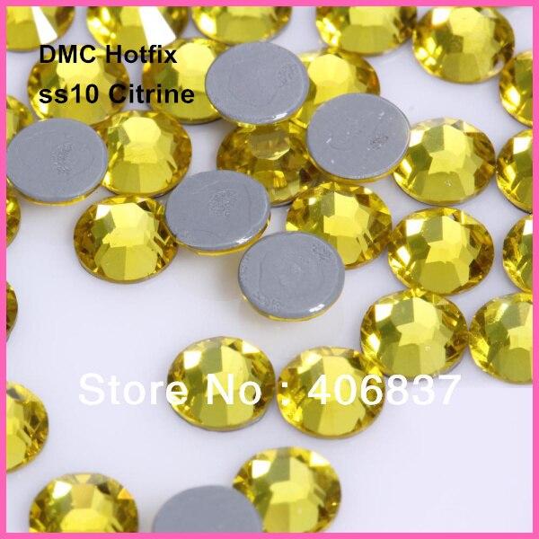 ¡Envío Gratis! 1440 unids/lote, ss10 (2,7-2,9mm) alta calidad DMC Citrine hierro sobre diamantes de imitación/diamantes de imitación Hotfix