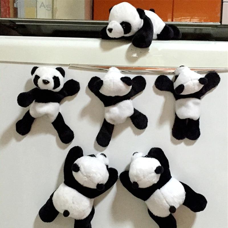 1 unidad adorable peluche suave Panda adhesivo magnético decoración dibujos animados calcomanía regalo fácil de limpiar accesorios de coche nuevo