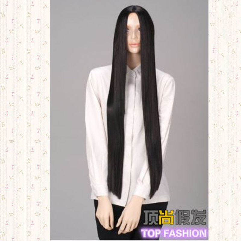 100cm Black Long Straight Middle Parting Styled Synthetic Hair Cosplay Costume Wigs +Wig Cap
