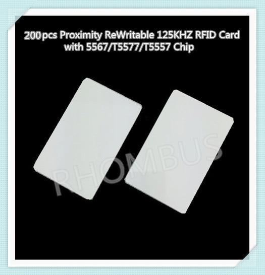 200 unids/lote proximidad reescribible tarjeta RFID de 125 KHZ con Chip 5567/T5577/T5557