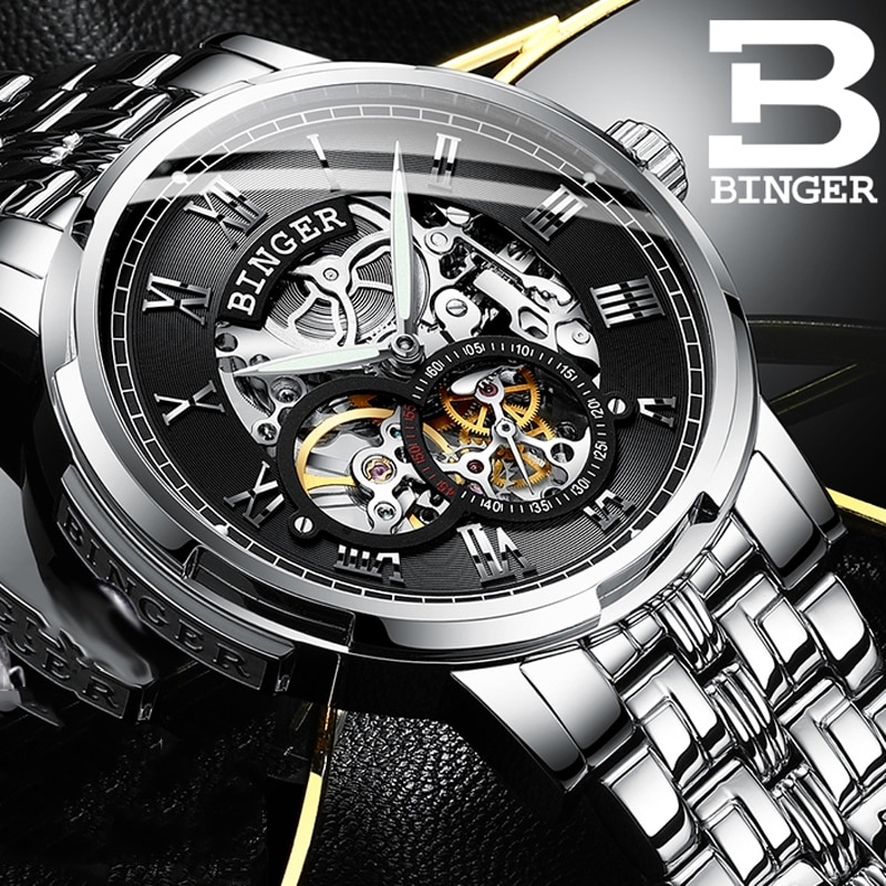 Swizerland BINGER Fashion Retro Men's Automatic Mechanical Watch Top Brand Luxury Silver Design Luminous Hands Skeleton Clock