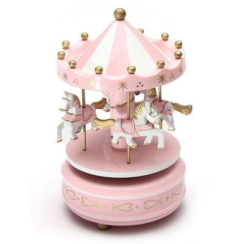 Música caballo de carrusel de madera caja de música con diseño de carrusel de juguete niño bebé juego