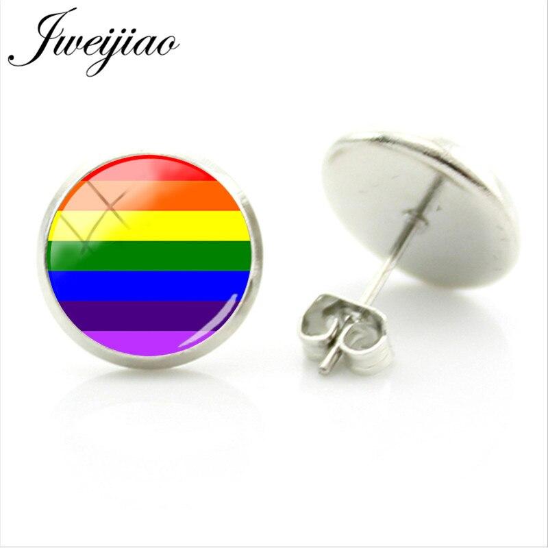 JWEIJIAO arcoíris diseño LGBT Stud pendientes cristal cabujón para imágenes para mujer hombre Metal pendientes joyería regalo BT08