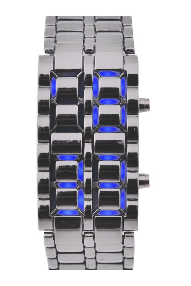 YCYS-Digital Led azul plancha de lava de Metal de estilo reloj deportivo