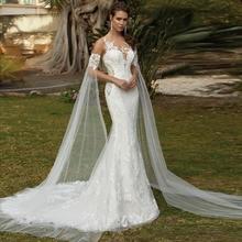 Eightale Mermaid Wedding Dresses with Detachable Sleeves O-Neck Lace Bridal Dress Illusion Back Wedding Gowns vestidos de noiva