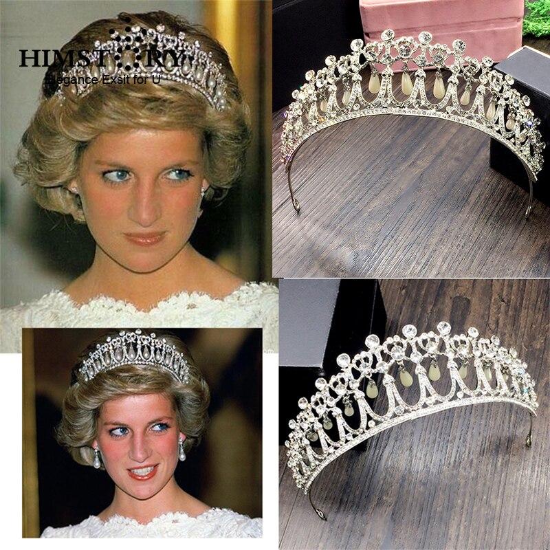 Diadema de princesa Diana HIMSTORY 2019, corona de cristal y perlas, accesorios para novias, Tiara para el pelo