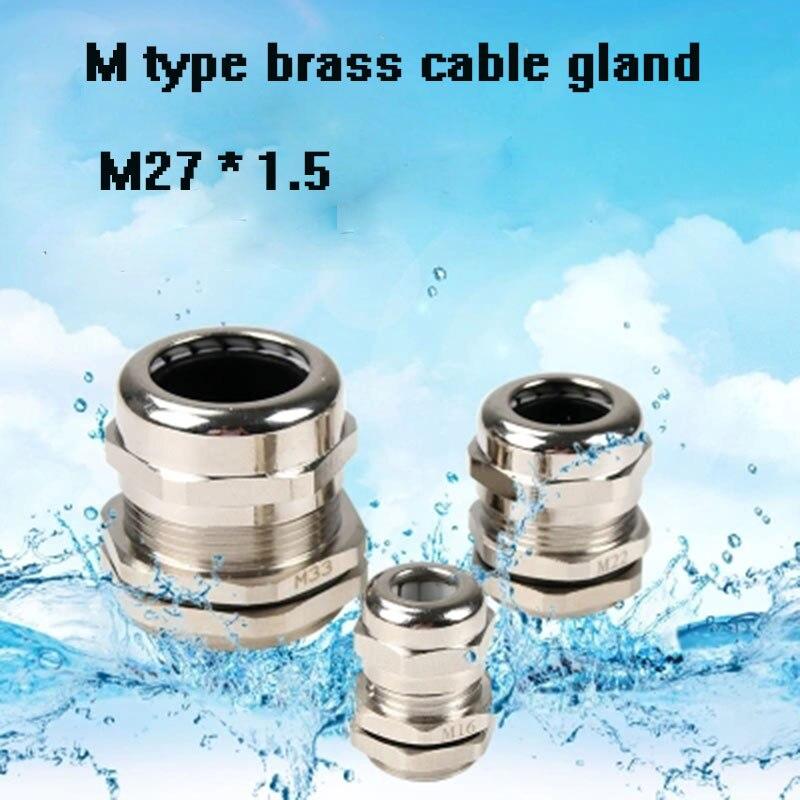 5 piezas M28 M27 M30 M32 latón niquelado Metal IP68 cable impermeable glándulas casquillos de cable conector cable e-pack conexión de cable libre