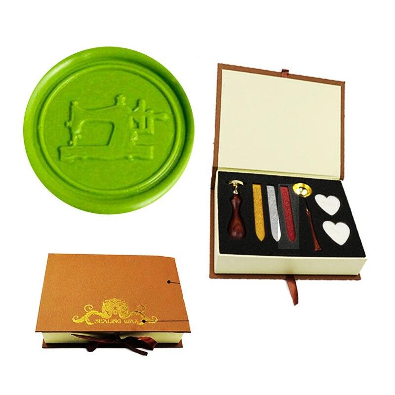 Signature Custom Vintage máquina de coser Logotipo de imagen personalizado invitación de boda sello de cera sello palo de rosa mango Set Kit