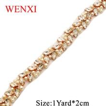WENXI 5YARDS Hand  Beaded Sewing on  Bridal diamond Clear Crystal Rhinestone Applique Trim Iron On For bridal Dress Sash WX879