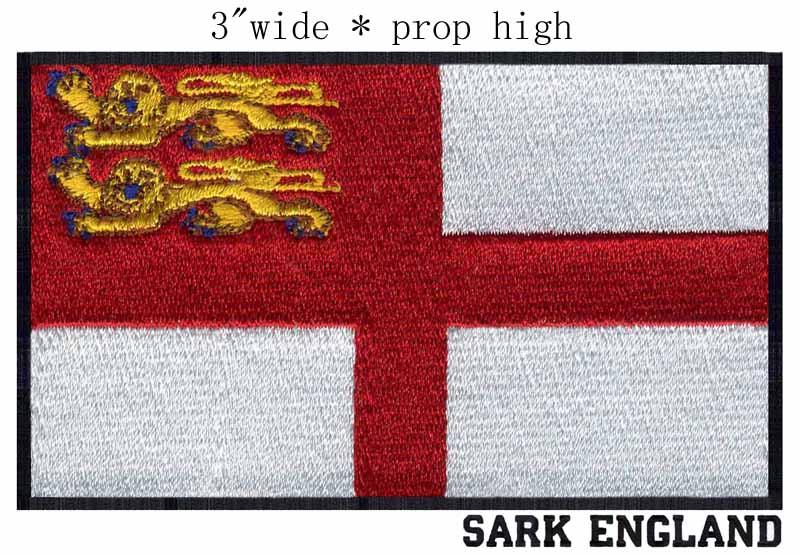 "Sark, Bandeira de inglaterra 3 ""wide patch bordado para bastidor para bordar/patch ecusson vetements/costura"