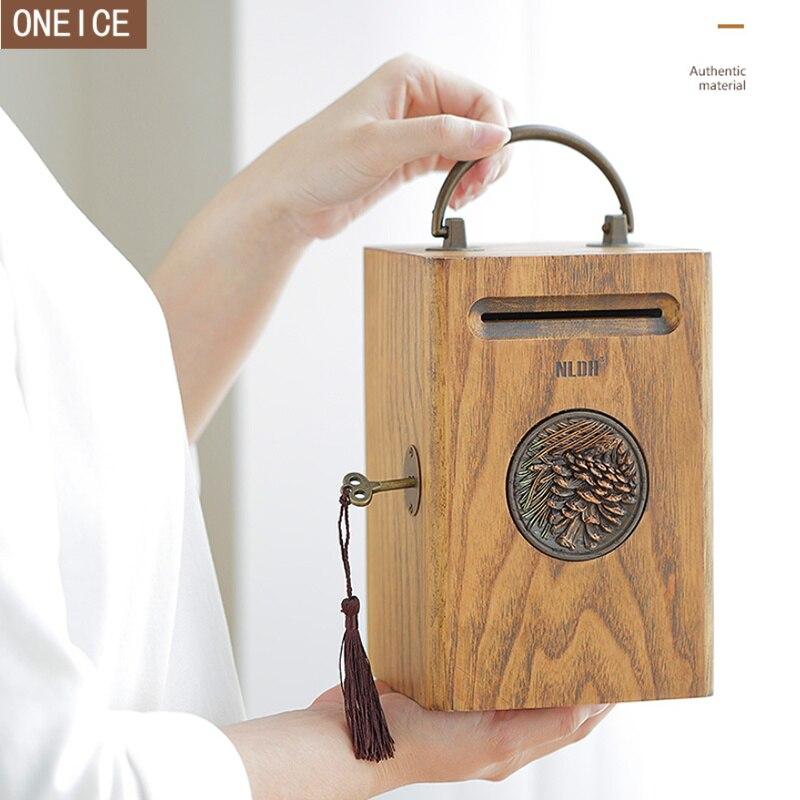 Retro mealheiro de madeira maciça lockable criança caixa de moeda grande capacidade de notas e moeda caixa de dinheiro segurança seguro melhor presente