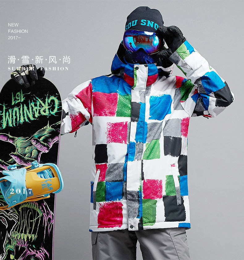 Mens Color Box Ski Jacket Male Riding Snowboarding Snow Coat Skiwear Waterproof 10K Windproof Breathable Warm