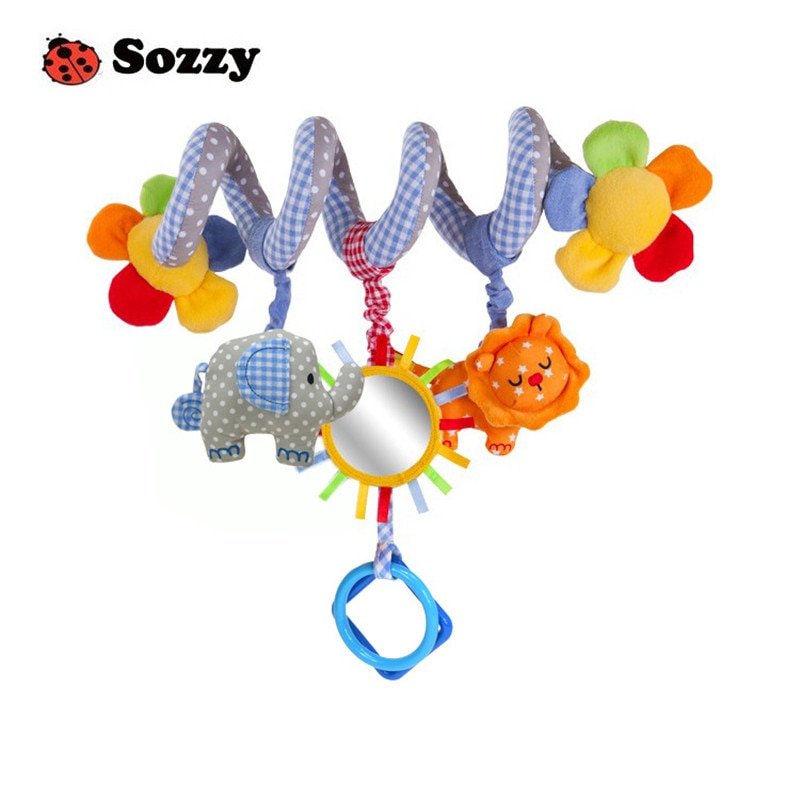 Sozzy 35センチの赤ちゃんガラガラぬいぐるみぬいぐるみ人形マジックミラーミュージカルサウンドカーベッドぶら下げおもちゃおもちゃ鐘リング幼児象ライオン