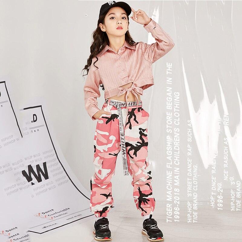 Trajes de dança jazz crianças camisas cor-de-rosa calças camuflagem hip hop roupas de rua cheerleading palco outfit performance wear dn3306