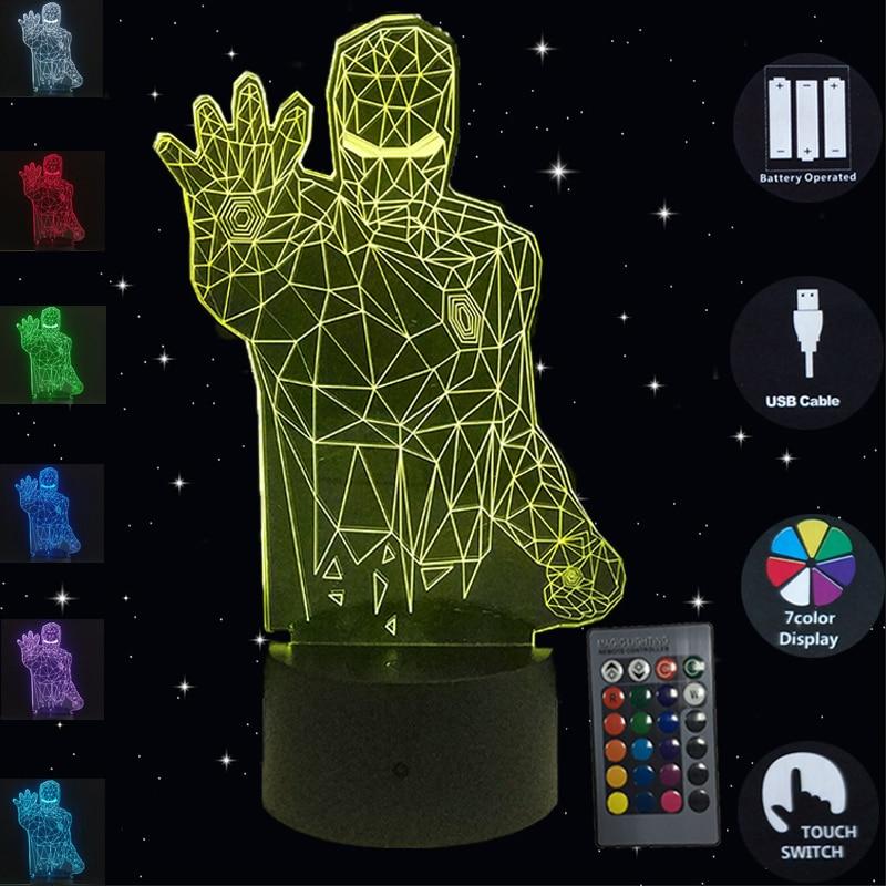 Superhéroes creativos Iron Man 3D luces de noche Lámpara de Mesa táctil 7 colores que cambian las luces LED Luminaria niño niños regalos de navidad