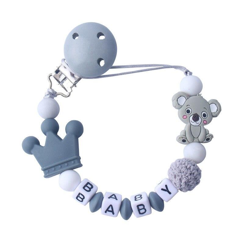 Nombre personalizado bebé chupete Clips Koala Cadena de chupete de bebé chupete para la dentición juguete Clips para chupetes