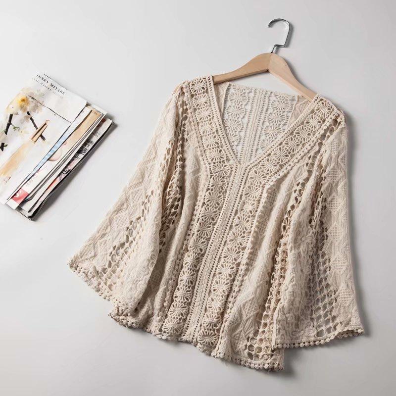 2019 mujer Blusa con encaje de croché ahuecado Tops y Blusas para mujer Vintage mujeres kimono Blusas ropa femenina Tops para mujeres