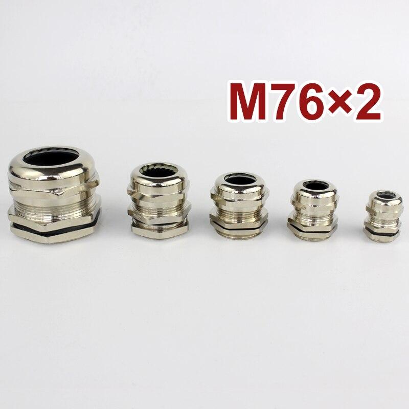 1 peça m76 * 2 níquel bronze metal ip68 impermeável cabo glândulas conector adequado para 48-55mm
