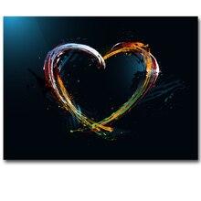 Canvas Schilderij Abstract Olieverf Aquarel Posters en Prints Kleurrijke Liefde Muur Foto S voor Woonkamer Cuadros Decor