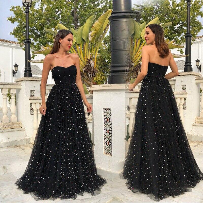 Verano Maxi mujeres Sexy Prom espalda descubierta negro De gasa Vestido De Soiree largo apliques trajes De noche Vestido De fiesta