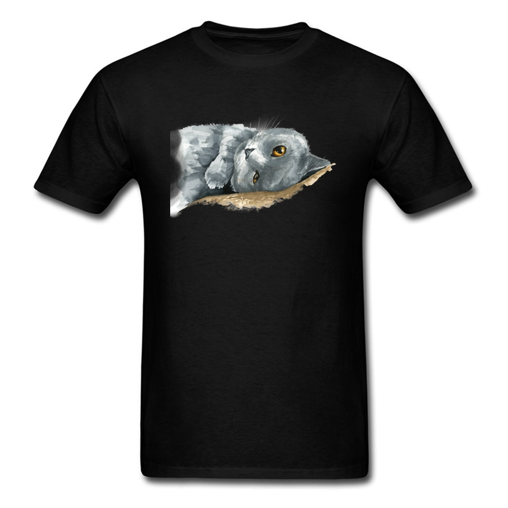 Custom British Short Hair Cat Watercolor Tees 2020 Men Valentine's Day Art Letter T-Shirt Streetwear Cotton Grey Tops Top Tees