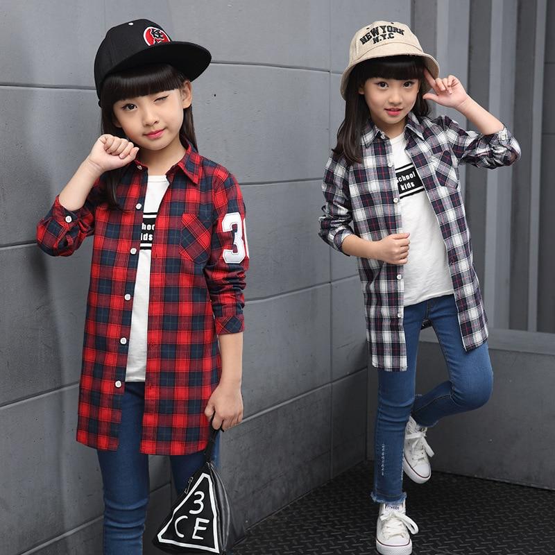 Клетчатая блузка для девочек, Весенняя длинная рубашка с принтом цифр 36, одежда для подростков, 2018