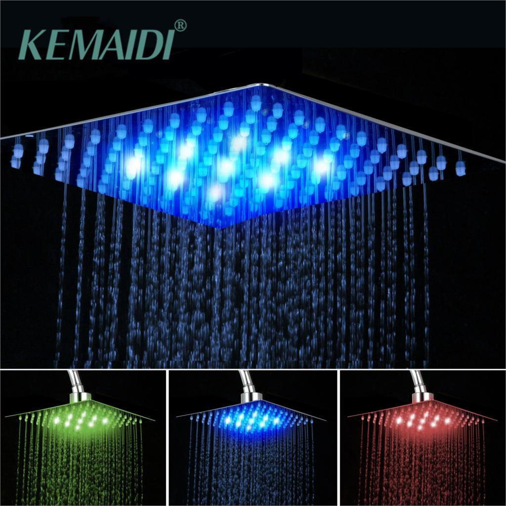 "KEMAIDI Bathroom shower head Chrome Brass LED Square Rain Shower Head Top Over Shower Sprayer For 8"" /10"" /12"" /16"" /20"" /24"""