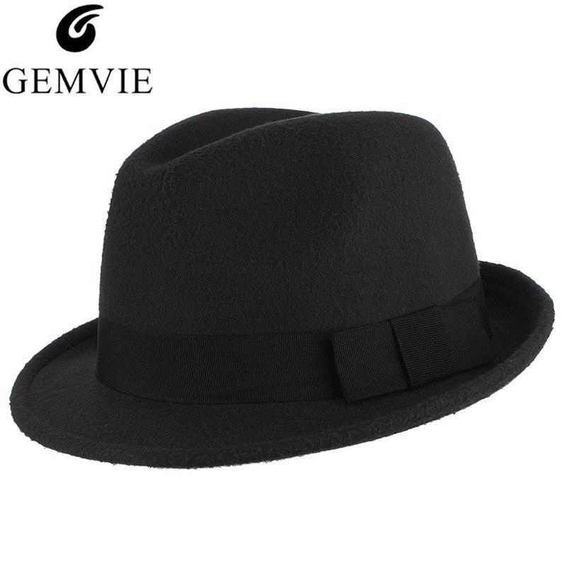 5 colores otoño invierno cálido fieltro sombreros para hombres Casual Color sólido Jazz Caps gánster Trilby Cap Iglesia hombre lana mezcla de sombrero Fedora