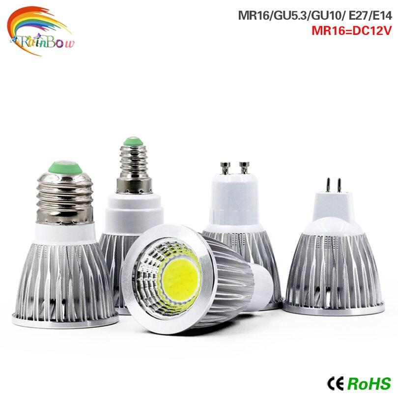 E27 lámpara LED E14 bombilla LED 15W 12W 9W COB bombilla led de alta potencia GU10 GU5.3 AC220V MR16 DC 12V foco Lampara de luz